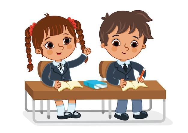 Векторная иллюстрация двух студентов, обучающихся в классе