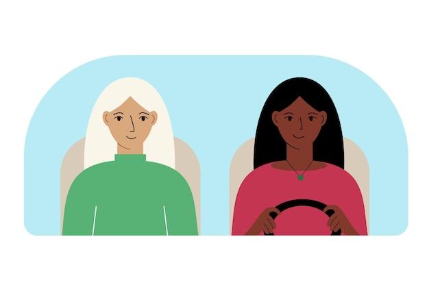 Векторная иллюстрация двух женщин в машине за лобовым стеклом.
