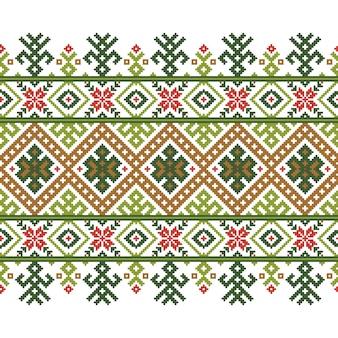 Векторные иллюстрации украинского народного бесшовные узор орнамент. этнический орнамент. элемент границы. традиционная украинская, белорусская народная художественная трикотажная вышивка - вышыванка