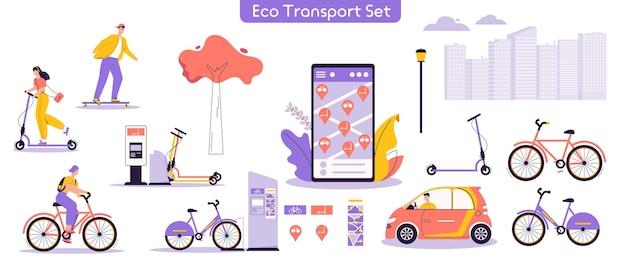 都市のエコ輸送セットのベクトルイラスト。キャラクターの男性、電動キックスクーターに乗る女性、自転車、スケートボード、車の運転、レンタルサービスモバイルアプリを使用したバンドル。現代の都会のライフスタイル
