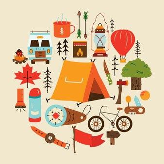 야생 자연에서 캠핑을 나타내는 다양한 다채로운 만화 요소의 벡터 일러스트 레이 션
