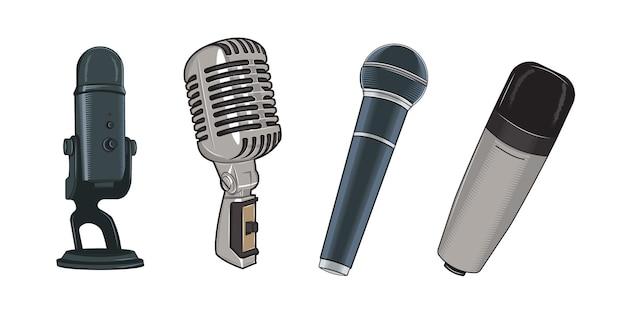 Векторная иллюстрация различных типов микрофона