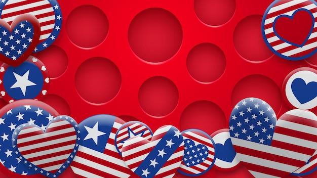 구멍이 있는 배경에 빨간색과 파란색으로 다양한 미국 기호의 벡터 그림. 독립 기념일 미국