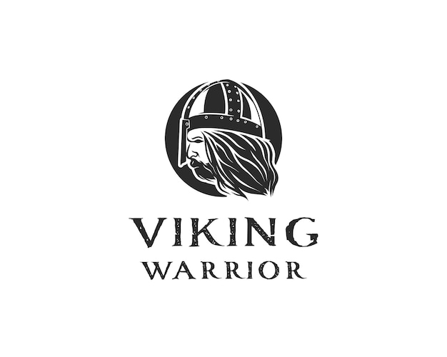 白い背景の上のヘルメットの鎧とバイキング戦士のベクトル図