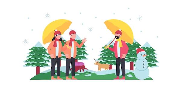 눈과 두 사람이 서 있는 겨울 도시 공원의 벡터 그림. 겨울 도시 공원의 벤치, 평면 만화 스타일의 겨울 휴가 개념