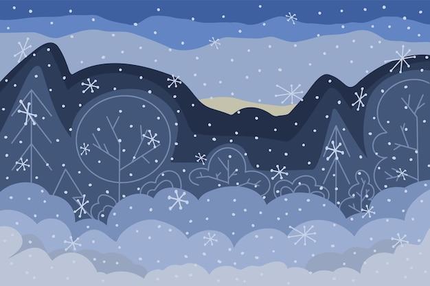 雪と冬の森の風景のベクトルイラスト。