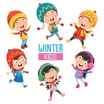 Векторная иллюстрация зимних детей