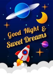 Векторная иллюстрация пожелания спокойной ночи на фоне темно-синего неба с луной. арт-дизайн для сети, сайта, рекламы, баннера, плаката, флаера, брошюры, доски, открытки