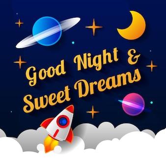 Векторная иллюстрация пожелания спокойной ночи на фоне темно-фиолетового неба с луной. арт-дизайн для сети, сайта, рекламы, баннера, плаката, флаера, брошюры, доски, открытки