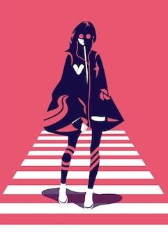 Векторная иллюстрация женщины в модном стиле, пересекающей крест зебры, вид спереди