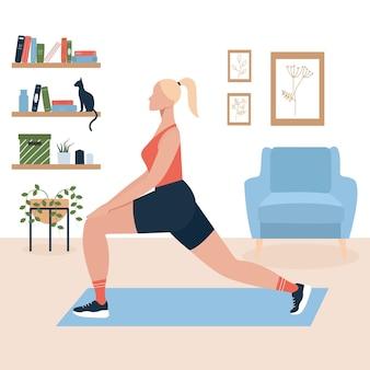 自宅で運動している白い髪の女性のベクトル図