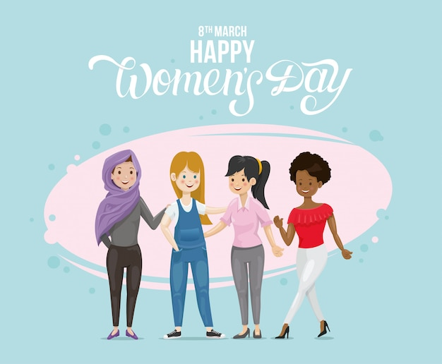 Векторная иллюстрация женщин со всего мира.
