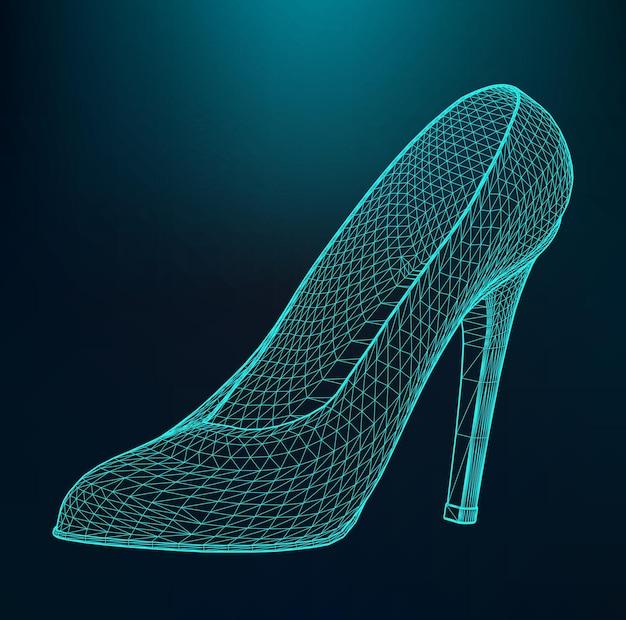 女性のかかとの高い靴のベクトルイラスト。線と点の範囲。分子格子。