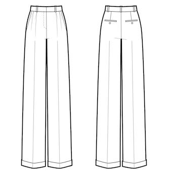 Векторная иллюстрация классических женских брюк. вид спереди и сзади