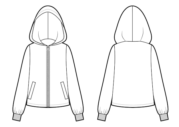 Векторная иллюстрация женской куртки с капюшоном. передний и задний шаблон