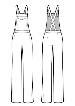 Векторная иллюстрация женского комбинезона. спереди и сзади