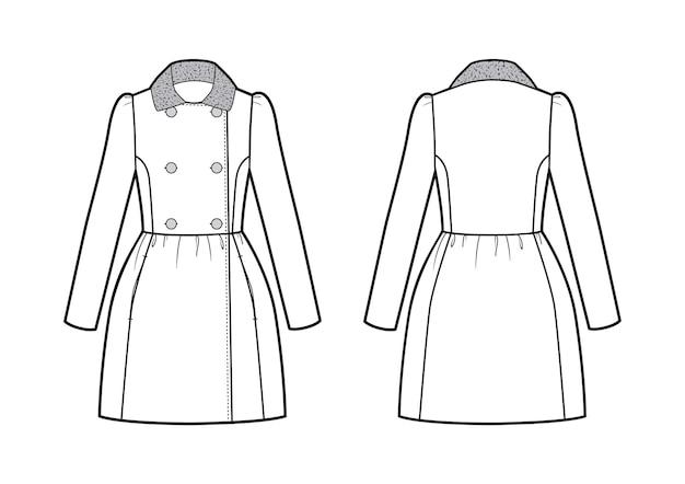 Векторная иллюстрация романтического женского пальто. спереди и сзади
