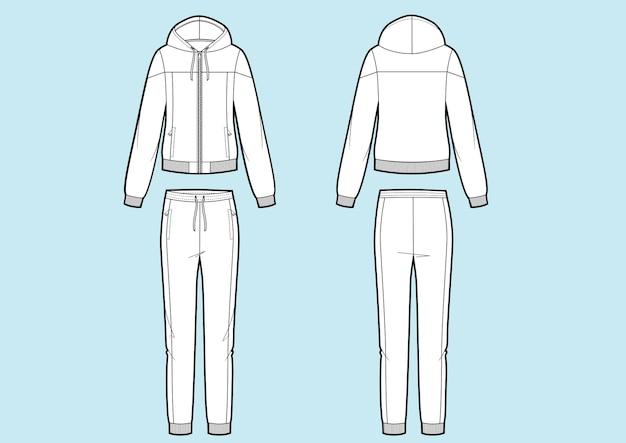 女性のスポーツスーツのベクトルイラスト。スウェットシャツとパンツ。正面図と背面図。フーディージャケット