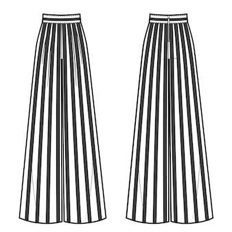여성용 와이드 스트라이프 팬츠의 벡터 삽화. 전면 및 후면 보기