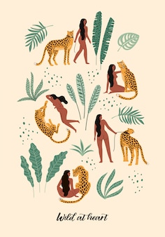 Vector illustration of women with leopards.