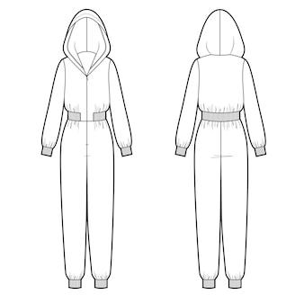 女性のフード付きマキシジャンプスーツの前面と背面のベクトル図