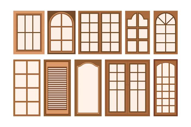 木製の窓のベクトルイラスト