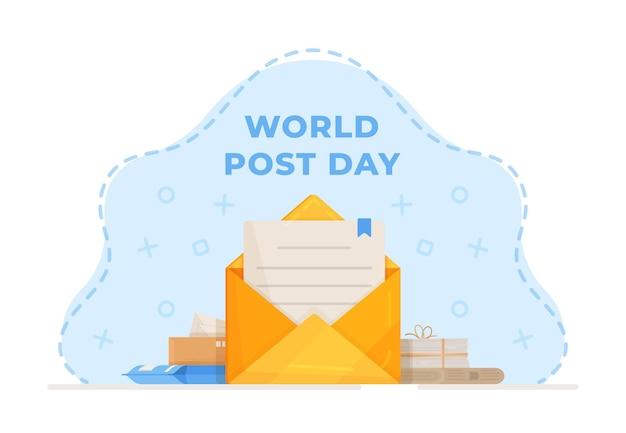 Векторная иллюстрация всемирного дня почты. почтовый конверт. всемирный день почты или международный день почты векторный дизайн фона с синим цветом для приветствия, публикации в социальных сетях.