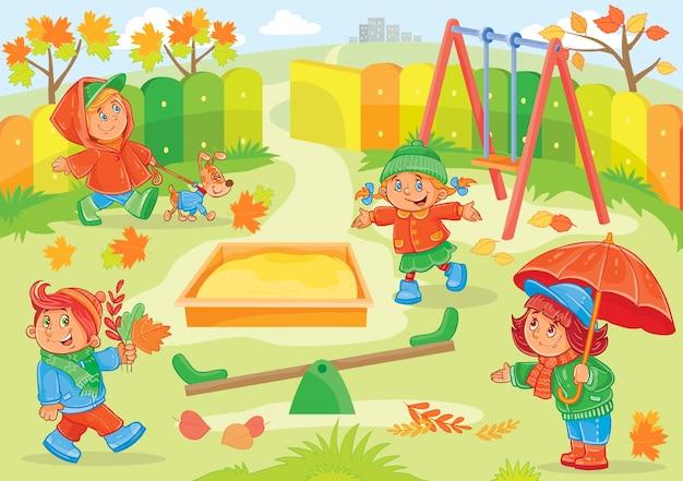 Векторная иллюстрация маленьких детей, играющих
