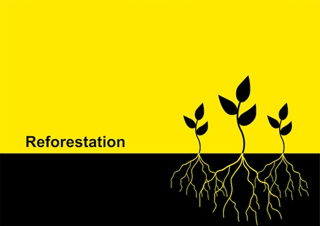 Векторная иллюстрация молодых деревьев с корнем, тема лесовосстановления