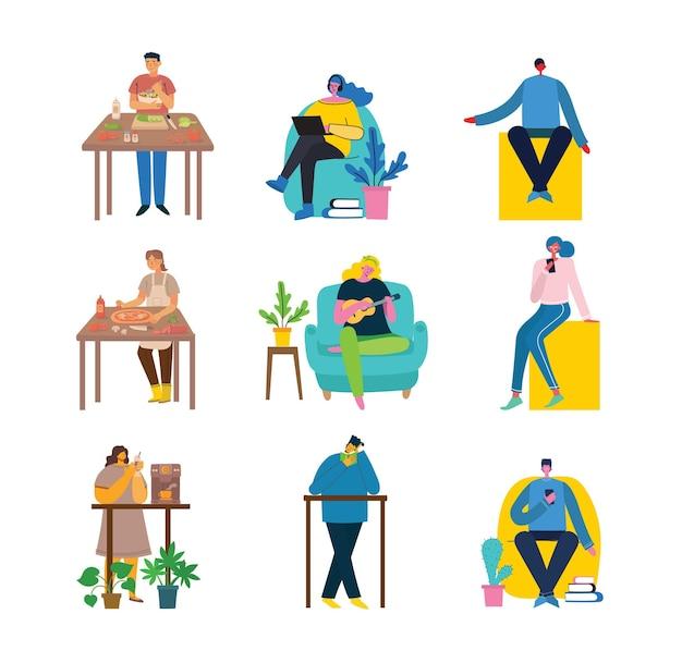 집에 노트북이나 컴퓨터가 있는 팔걸이 의자에 앉아 일하는 젊은 여성의 벡터 그림