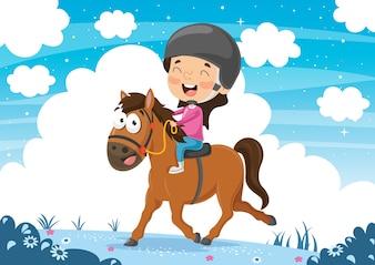 馬を乗っている子供のベクトル図