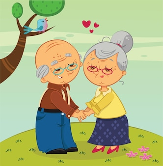 Vector illustration of old couple who still love each other very much