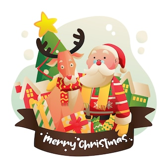 Vector illustration of an old santa claus and old deer with many prizes