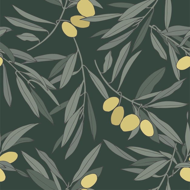 Vector illustration olive branch - vintage linear style. seamless pattern in retro botanical style.