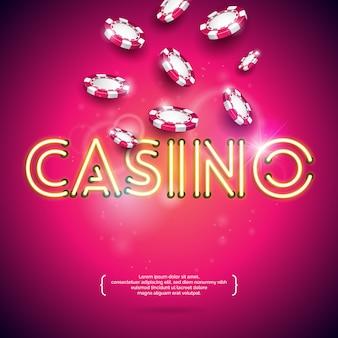 ネオンライトレターを持つカジノのテーマでのベクトル図