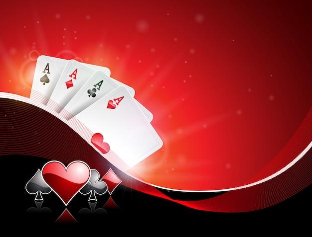 ポーカーカードでカジノのテーマでのベクトル図