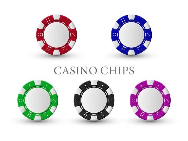 光沢のあるテキストとカラフルなチップのカジノテーマのベクトルイラスト。