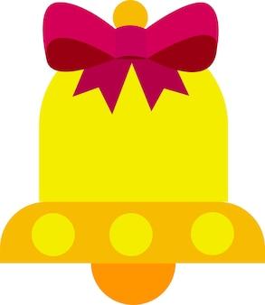 Векторная иллюстрация на белом фоне колокольчик желтый с бантом