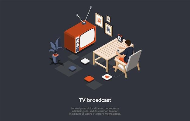 暗い背景のベクトル図。 tv放送の概念の等尺性の構成。漫画の3dスタイル。テレビ手段。机に座っている男性キャラクター、近くのテレビ。周りのインフォグラフィック要素