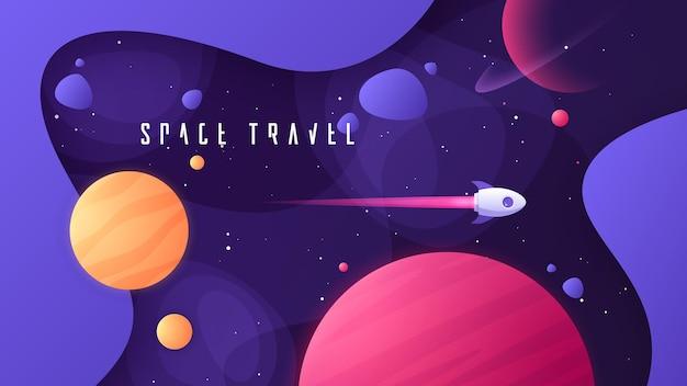 우주 공간 성간 여행에 대한 주제에 대한 벡터 일러스트레이션은 우주와 먼 은하계를 여행합니다.