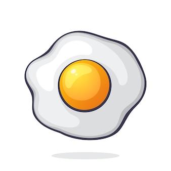 Векторная иллюстрация одно жареное яйцо символ здорового питания на завтрак графический дизайн с контуром