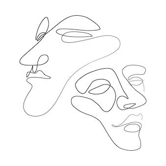 ベクトルイラスト一本線の顔ミニマリストの連続線形スケッチ男の顔
