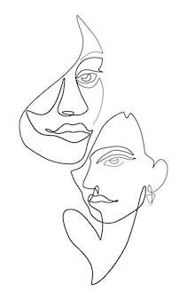 ベクトルイラスト一本線の顔ミニマリストの連続線形スケッチ女性の顔