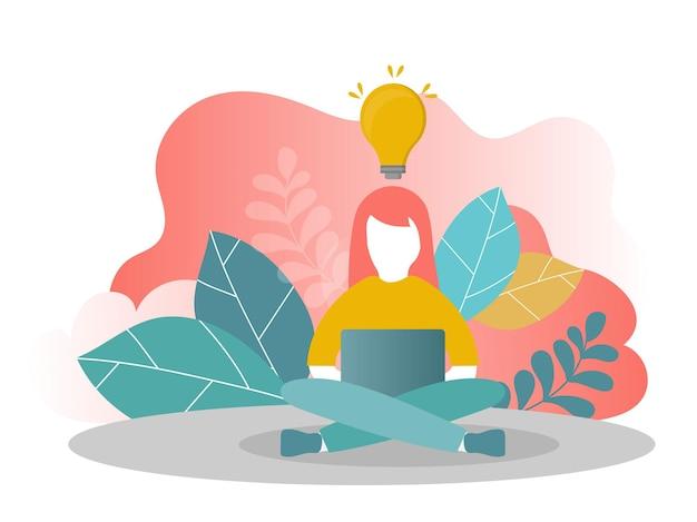 ベクトルイラスト、職場でのオンラインアシスタント。ネットワークでのプロモーション。在宅勤務のマネージャー、新しいアイデアの解決策を探しています