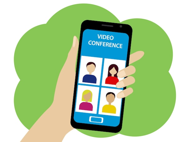 Vector illustration of an online conference by phone. people and operator icons