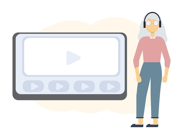 Vector illustration of online education with laptop monitor and woman in headphones