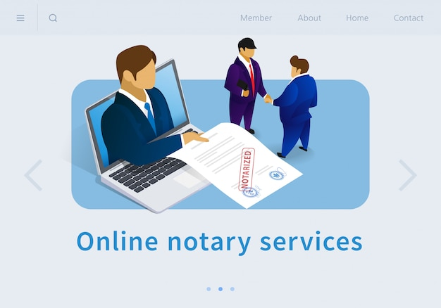 Vector illustration online notary services flat.