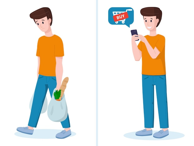 Vector illustration online shopping concept man buys food online