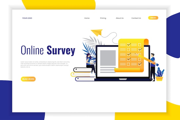 Vector illustration of online survey concept