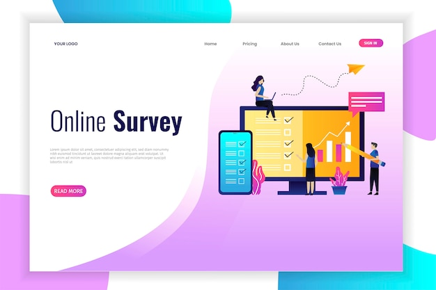 Vector illustration of online survey concept,